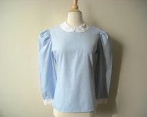 Vintage Blue Blouse Peter Pan Collar