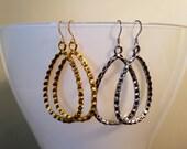 Textured Teardrop Hoop Earrings