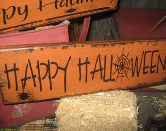 """Primitive  Holiday Wooden Hand Painted Halloween Salem Witch Sign -  """" Happy Halloween """"  Country  Rustic Folkart"""