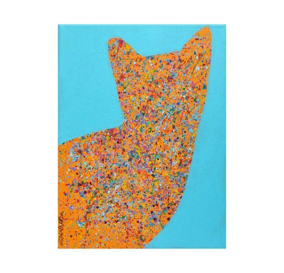 RESERVED modern pop art cat portrait homage to Pollok splatter paint ORIGINAL PAINTING by Elizabeth Rosen