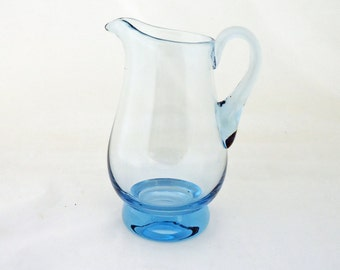 Vintage Blue Glass Pitcher/Jug/Vase, UK Seller