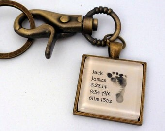 New Dad Gift, Actual Babys Footprint Keychain, Purse Charm, Fathers Day, Mens Baby Feet Keychain, Husband Gift, Baby Memorial Gift