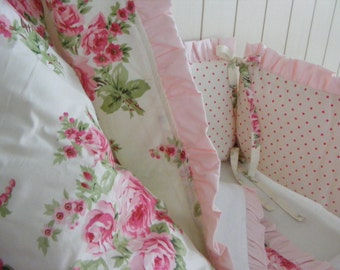 Pink and Green Baby Bedding Set Quilt Bumper and Skirt and Sheet- Girls Roses -Cottage Chic