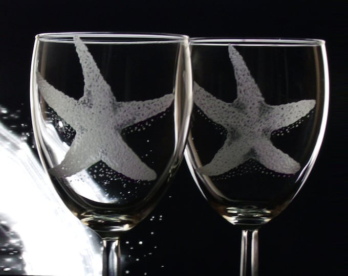 Starfish  wine glass set  Summer glassware -etched engraved glassware stemware -Wine lovers Gift set Host hostess gift  Elegant Unique