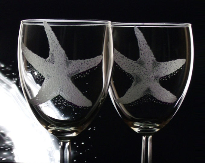 Custom Wine Glasses  Starfish Glassware set of  8  large glass set  beach wedding  bridal party  wine lovers gift Summer