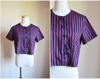 Asymmetric Striped Blouse - 70's, crop top, maroon, black, cotton