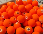 Neon Orange Rubber Coated Beads 50pcs 8mm