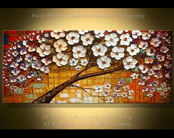 Painting on canvas Enveloped in Blossoms - Original Palette Knife thick oil texture by Paula Nizamas Ready to Hang