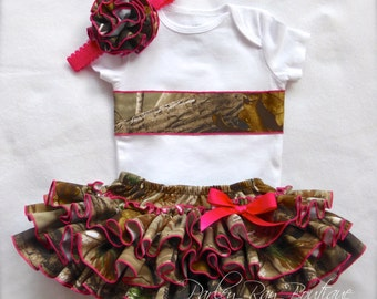 Parley Ray Daddy's Girl REALTREE Pink Camo Appliqué Shirt With All Around Ruffle Skirt Diaper Cover/ Baby Bloomers/ Photo Prop Hunter