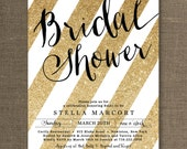 Black & Gold Bridal Shower Invitation Glitter Stripes Metallic Sparkly Glam Modern FREE PRIORITY SHIPPING or DiY Printable - Stella Style