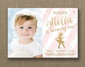BALLERINA BIRTHDAY INVITATION Photo Pink & Gold Glitter Confetti Any Age First Birthday Free Priority Shipping or DiY Printable - Stella