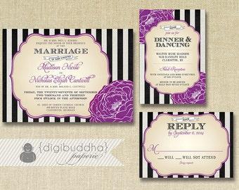 Black & White Striped Wedding Invitation RSVP Info Card 3 Piece Suite Plum Bloom Shabby Chic Purple Vintage Rustic DIY or Printed - Madison