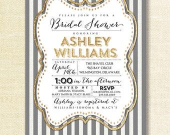 Gray & White Bridal Shower Invitation Gold Glitter Stripe Art Deco Wedding Gatsby Modern FREE PRIORITY SHIPPING or DiY Printable - Ashley