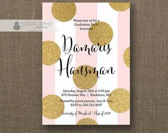 Blush Pink & Gold Dot Graduation Party Invitation Glitter Dots Black Modern Girl Graduate FREE PRIORITY SHIPPING or DiY Printable - Damaris