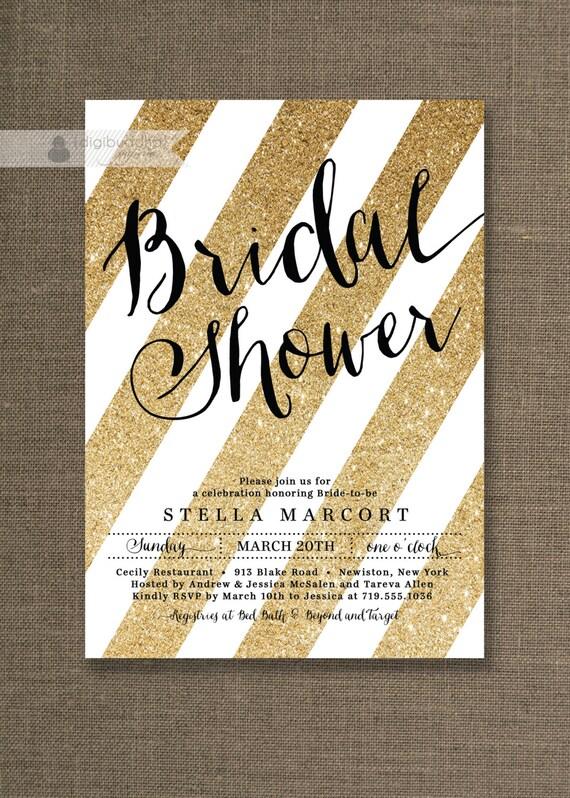 Black Amp Gold Bridal Shower Invitation Glitter By