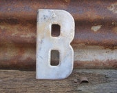 Letter Sign Vintage Metal Letter B Sign White Aged Chippy & Rusted Old Marquee Metal Letter Rusty Wall Art Number Art Alphabet Signs Old