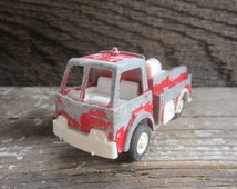 REDUCED Metal Toy Truck 1970s Fire Truck Firetruck Red Chippy Paint Metal Plastic Retro Vintage Toys 70s Era Toys Tootsie Toy Chicago USA
