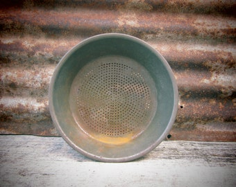 Antique Metal Staining Pan Colander Bowl Early 1900s Milk Strainer Old Vintage Tin Ware Tinware Rustic Country Kitchen Rustic Wedding VTG