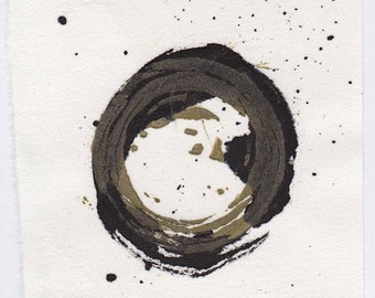 linocut print and sumi ink on Hosho rice paper, small art work, Enso V - November 2013,