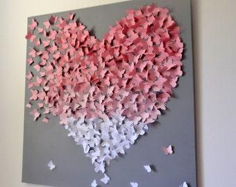 XL 3D Butterfly Statement Wall Art-Light Pink Ombre on Grey, Modern Collage Art, Wedding Gift, Girls Room Decor, Custom Nursery Art