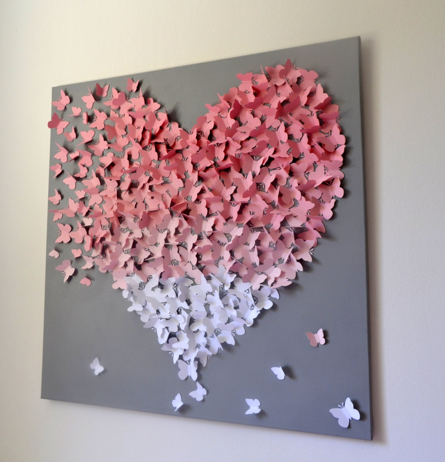 Xl 3d butterfly statement wall art light pink ombre by for Pink wall art
