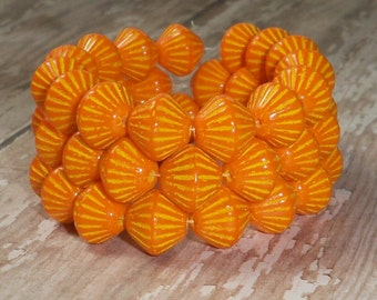 Orange Yellow 11x10mm Czech Glass Bead Bicone Carved African Trade POPPY (9)