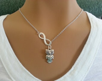Infinity and Owl Lariat Necklace 2