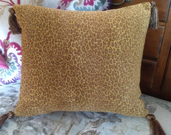 Gold caramel brown chenille pillow cover