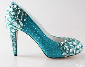 High end turquoise oasistiffany blue crystal shoes, hand sewd crystal wedding bridal shoes , beaded toe and heels pumps prom shoes