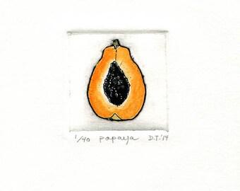papaya orange etching miniprint