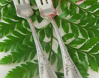 WEDDING Cake Forks, MR MRS, Wedding Forks Personalized, Vintage Silver Plated, Queen Helena by Williams Bros, 1905, Under 25