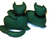 Set of two (2) - Green and Black Plaid Cotton  Kitty Cat Window Sitter twins with a black lace collar