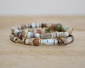 """Earthy Brown Recycled Paper Bead Bracelet Set, Made With """"The Cowboy and the black eyed pea"""""""