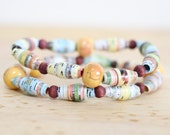 Pastel Colored Paper Bead Bracelet Set, Made From Recycled Book Pages, Book Lover Gift, Teacher Gift