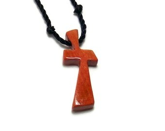 Wood Cross Necklace -  Rare African Pink Ivory Hardwood