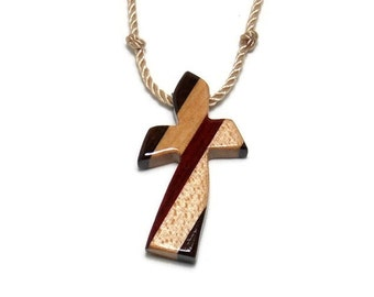 Christian Pendant - Wooden Guy's Cross Necklace - Ebony, Bloodwood & Maple