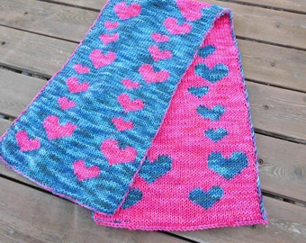 Pink and Blue Heart Scarf - Pink Heart Scarf - Blue Heart Scarf - Reversible Scarf - Knit Wool Scarf - Hand Dyed Yarn - Double Knit Scarf