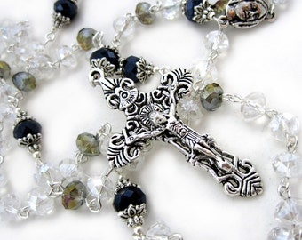 White crystal Rosary necklace, catholic rosary, confirmation rosary, holy communion rosary, baptism rosaries, devotional gift, ladies rosary
