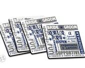Groomsmen Coasters - Set of 4 - Wedding Party Coasters -Groomsmen Set of Coasters - Great Gift Idea