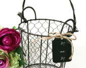 wire flower girl basket shabby chic rustic