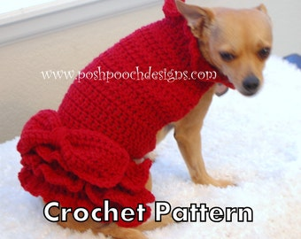 Instant Download Crochet Pattern - Red Ruffle Dog Sweater Dress - Small Dog Sweater