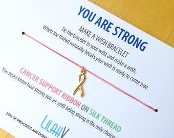 Wish Bracelet - Make a Wish Bracelet - Cancer Support - Encouragement Card - Cancer Bracelet - Wish Bracelet Gift - Cancer Survivor - Pink