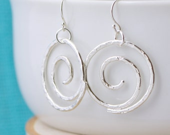 Spiral Earrings - Dangle Earrings - Hammered Earrings - Argentium Sterling Silver - Handmade