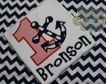 Nautical Themed Mongorammed and Applique  Birthday Shirt