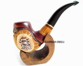 """NEW Set Tobacco Pipe / Pipes-Smoking Pipe/Pipes. Handcrafted Wooden Pipe """"SHIP"""" & STAND"""" Exclusive Wood Pipes Tobacciana pipe"""
