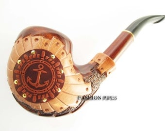 "New  Pipe ""SAILOR II"", Unique Decorated with Leather Carved Tobacco Pipe/Pipes-Smoking pipe. Long Wooden Pipe Handcrafted"