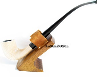 "Fashion Set - White Long Tobacco Smoking Pipe ""Lord of The Rings"" Pear Wood Pipe 9.8'' Churchwarden Fashion Style & Stand"