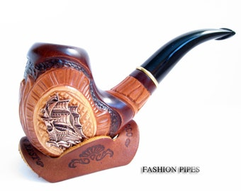 "NEW Handcrafted Tobacco Pipe / Pipes-Smoking Pipe/Pipes. Handcrafted Wooden Pipe ""SHIP"" & Cooler"" Exclusive Wood Pipes Tobacciana pipe"
