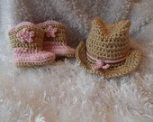 Crochet Baby Cowgirl Hat and Boots Set -  Photography Prop - Costume - made to order