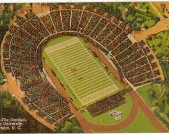 Linen Postcard, Duke University Football Stadium, Durham, NC, Ca 1945